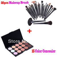 Professional Cosmetic 32 Pcs Makeup Brush Tools Cosmetic Brush Set With 15 Color Concealar Free Shipping