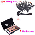 Professional Cosmetic 32 pcs Makeup Brush Tools Cosmetic Brush Set with 15 color Concealar,Free Shipping