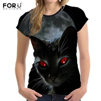FORUDESIGNS 3D Galaxy Moon Black Cat Printed T Shirt Women Fashion Fitness Female T Shirts Brand