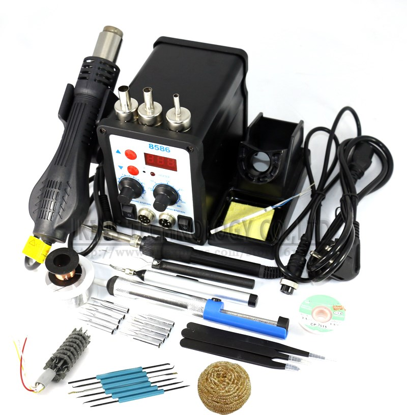 8586 2 in 1 ESD Soldering Station SMD Rework Soldering Station Hot Air Gun set kit Welding Repair tools Solder Iron EU 220V/110V yihua 27 in 1 portable digital bga rework solder station hot air electric soldering iron electronic welding repair tools set