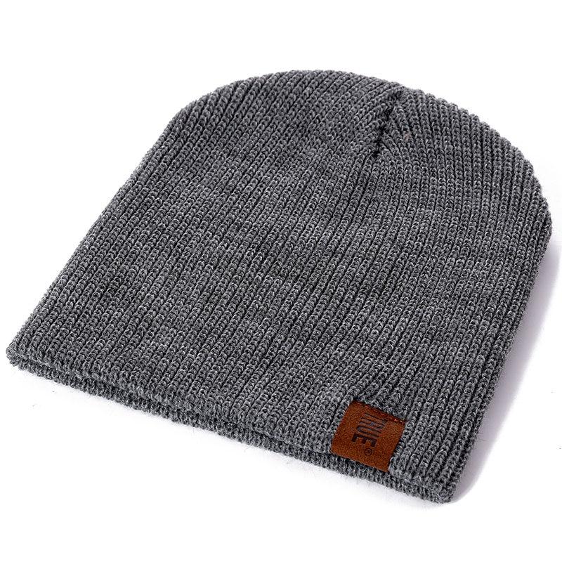 1 Pcs Hat PU Letter True Casual Beanies for Men Women Warm Knitted Winter Hat Fashion Solid Hip-hop Beanie Hat Unisex Cap 3