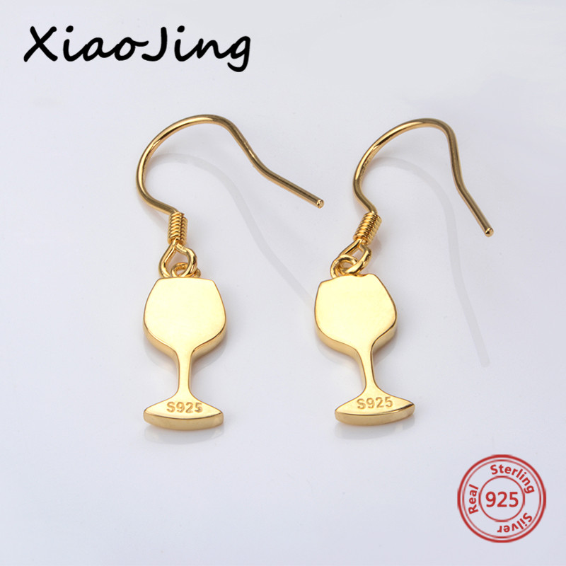 XiaoJing Authentic 925 sterling silver diy craft gold color red wine cup dangle earrings fashion jewelry making for women gifts in Drop Earrings from Jewelry Accessories