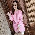 Nova primavera 2017 mulheres coreanas cintura fina rosa dress solto camisas de algodão bordados de flores de alta qualidade evento dress atacado