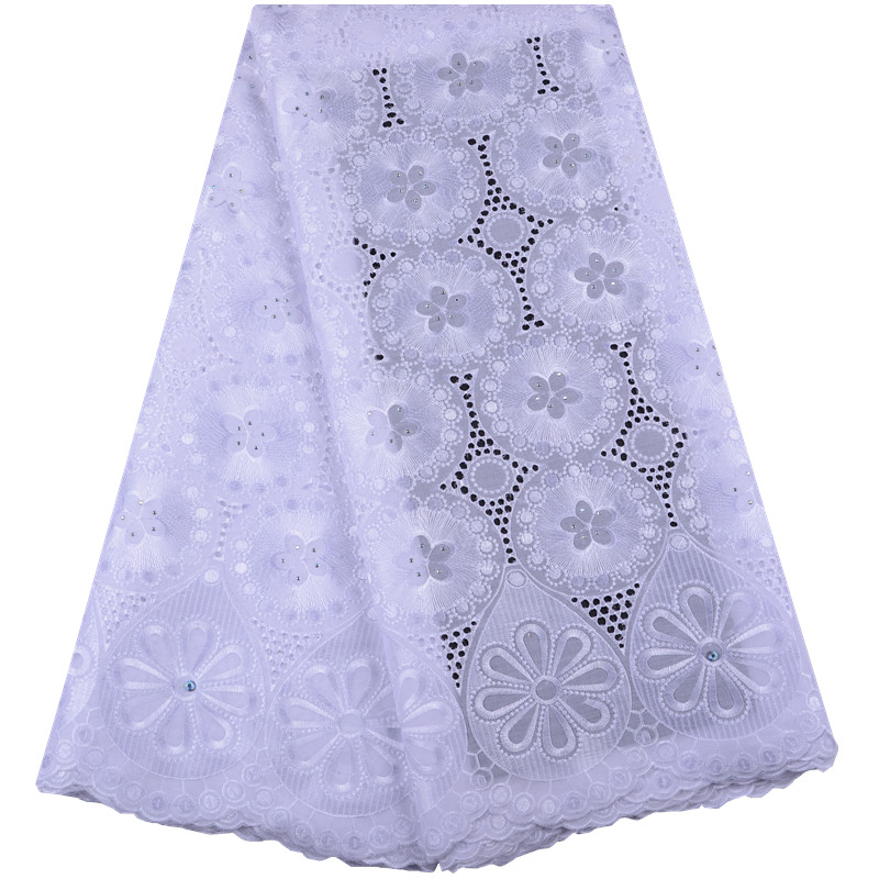 Hot Sale African Cotton Swiss Voile Lace Fabric High Quality With Stones Swiss Voile Lace In