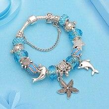 W stylu Casual, letnia wakacje niebieski kryształ fala oceaniczna bransoletka z koralików kolor srebrny Ocena wisiorek z motywami zwierząt bransoletki DIY biżuteria Pulsera Hombre