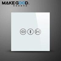 MakeGood Pantalla Táctil Estándar de la UE Interruptor Panel de Cortina de Cristal, Interruptor de Pared Utilizado Para Cortinas Eléctricas Por menos de Motor