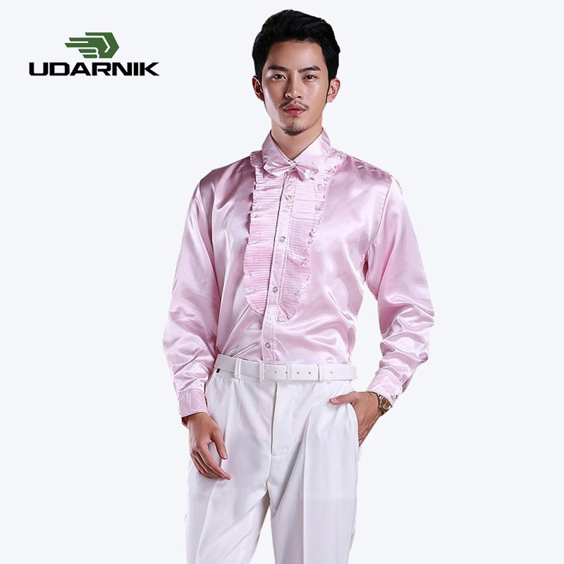 Men's Long Sleeve Ruffle Pleated Silky Shirts Full Long Sleeve Fashion Casual Frill Men Dress Shirt Party Stage Clothes 903-B214