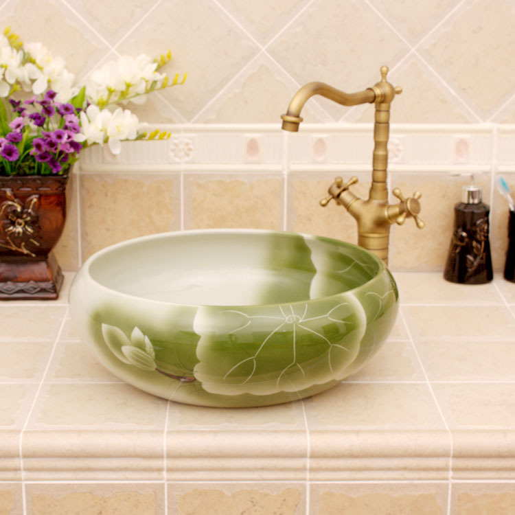 Porcelain China Clic Art Lotus Bathroom Sinks Ceramic Countertop Hand Painted Vessel Sink