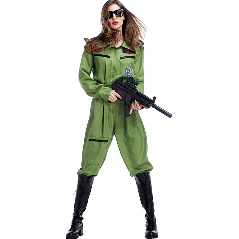 Free Shipping Halloween Costume women Army Green pilot jumpsuit  Costume Women Fancy Dress Costume