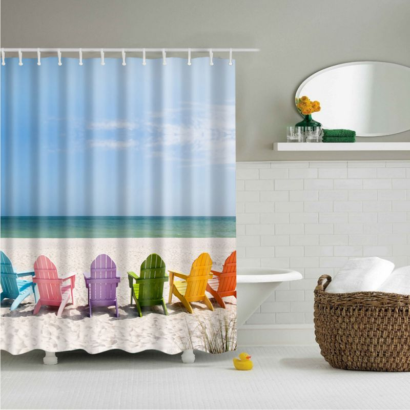 Us 11 27 22 Off 180x180cm Seascape Sea Beach Landscape Print Ocean Decor Collection Bathroom Set Fabric Shower Curtain With 12 Hooks In