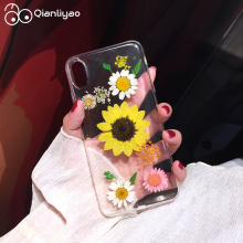 Qianliyao Real dried flowers natural beauty handcraft original phone case for iPhone 6 6s 7 8 plus X XR XS MAX Sunflower Cases