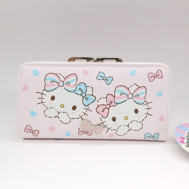 Free shipping Genuine Hello kitty wallet female purse money wallet High  quality PU womens wallets and purses cat bag f3452d3d5c