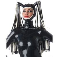 2019 exotic Handmade Customized Latex Hoods With Tress Wig Hair Fetish Mask Heroine Hood Cosplay Women Open Face Headgear Zentai