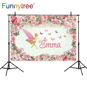 Image 2 - FunnyTree photography background pink flower frame Butterfly golden Custom name girl party birthday photozone backdrop elf vinyl