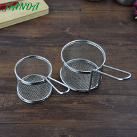JIANDA Stainless Steel Deep Fry Basket Round Mesh French Chip Frying Serving Food Accessories With Handle