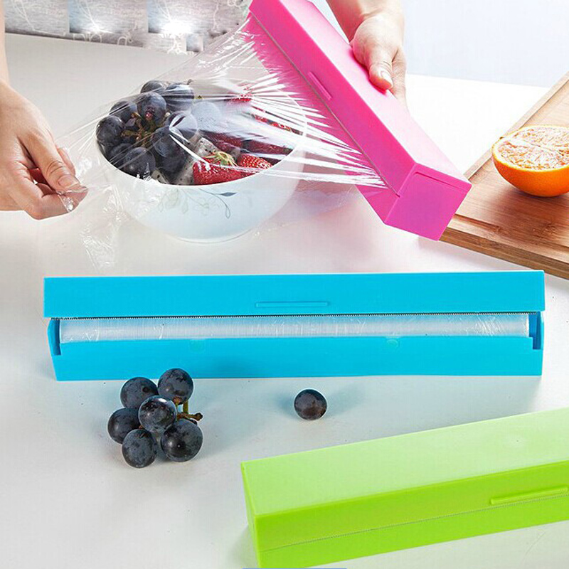 1pc Cling Wrap Dispenser Preservative Film Cutter Fruit Vegetable Food Plastic Wrap Box Cooking Tools Kitchen Gatget Accessories