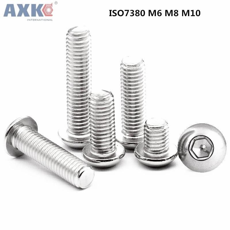 AXK M6 M8 M10 Hexagon socket button head screws 316 stainless steel round head cap screw Mushroom Head Hex Screws ksol m6 x 70mm threaded 1mm pitch hex socket head cap screws bolts 5 pcs