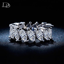 Exquisite 585 White Gold color Wedding Ring 7MM Surface Width Shiny rhinestone Women Fancy Vintage Ring Accessories bague HH242