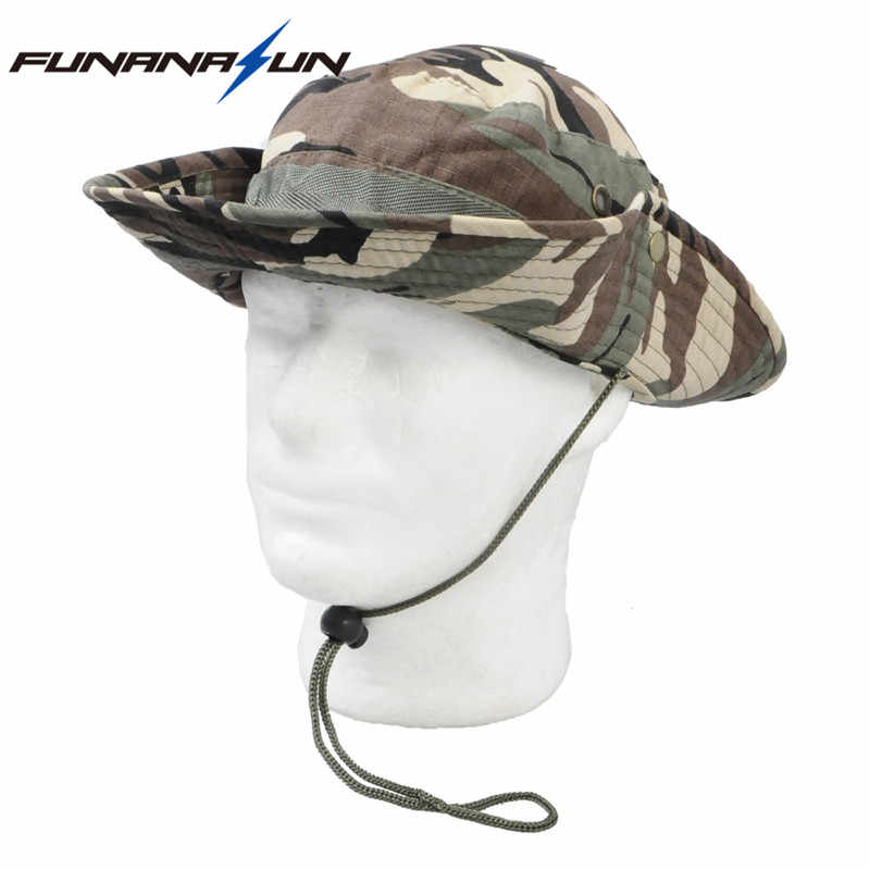 872b8ade6 Military Men Hunting Camouflage Hat Outdoor Hiking Wide Bucket Hats Unisex  Brim Sun Cap Summer Jungle with String Boonie Hat