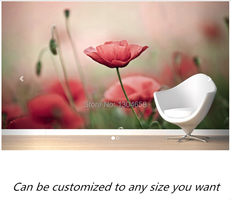 Free shipping custom- modern 3D mural Delicate Poppies Wall Mural sofa bedroom TV backdrop wallpaper free shipping 3d european style street night wall painting cafe hotel restaurant bedroom sofa backdrop wallpaper mural