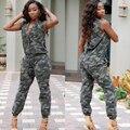 2016 Sin Mangas de Moda de Verano Verde Del Ejército Camuflaje General Playsuit Buzos Mameluco Largo Ocasional Mujer Ropa WE704463