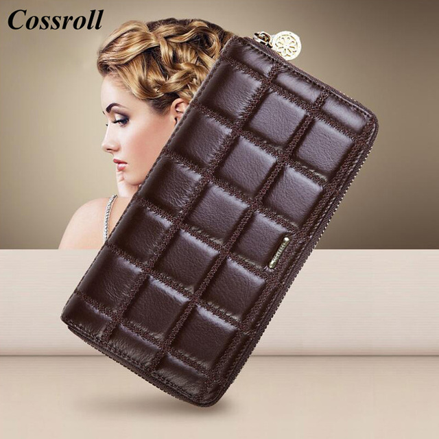 7769aef102b2 Cossroll натуральная кожа кошельки для женская обувь на застежке-молнии женский  кошелек клатч леди кошелек