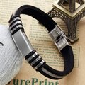 Women's Vintage Punk Jewelry Stainless Steel Silvery Black Speckle Silicone Cord Shape Fashion Wrist Bangle Length: 48mm