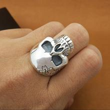 цена на 100% 925 Silver Flower Skull Ring Real Sterling Silver Skeleton Ring PUNK Jewelry Man Ring