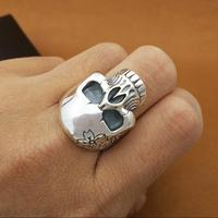100% 925 Silver Flower Skull Ring Real Sterling Silver Skeleton Ring PUNK Jewelry Man Ring