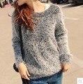 Весна Осень Свитера 2017 новое поступление горячей продажи О-Образным Вырезом с длинным рукавом конфеты цвет женская одежда твердые свободные мохер пуловеры 4036
