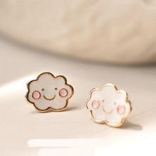 Grace Jun 2017 New Style Fashion Clouds Smile Enamel Stud Earrings for Girls Kids Cute Lovely Fine Jewelry Accessories Good Gift