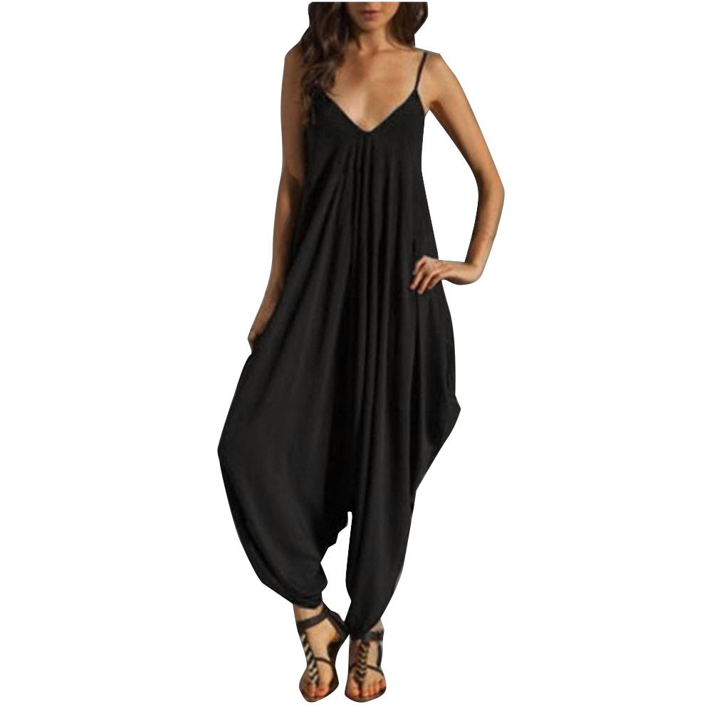 New Fashion Women   Jumpsuits   Spaghetti Straps V Neck Camisole Thin Loose Strap Strappy Baggy   Jumpsuit   Solid Black Mujer Playsuit