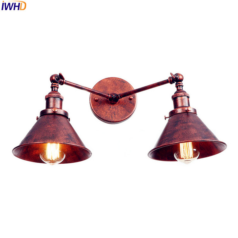 IWHD 2 Heads Rust Retro LED Wall Lamp Vintage Home Lighting Adjustable Arm Industrial Wall Sconces Applique Murale Luminaire