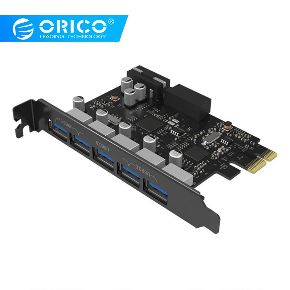 ORICO Desktop 5 Port USB3.0 PCI Express Card For Laptop Support Windows 10 / 8 / 7 / Vista / XP Including 4-pin Power Cord