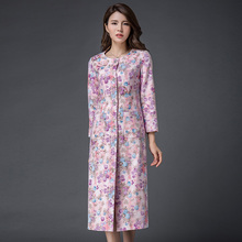 Coat Female 2016 New Arrival Autumn fashion Women's round neck single-breasted double pocket flower print plus size trench coat