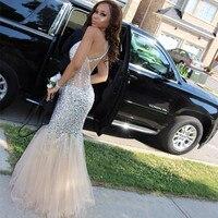 Luxury Sparkle Crystal Mermaid Prom Gown V neck Floor Length Women Wedding Party Dress robe de soiree