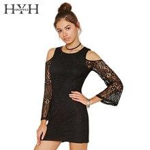 цена на HYH HAOYIHUI Solid Black Women Dress Cold Shoulder Crew Neck Long Sleeve Vestidos Lace Sheer A-Line Sweet Mini Dress