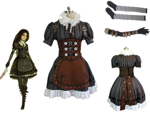 2016 Newest Alice Madness Returns Cosplay Alice Steam Dress Adult Womens  Halloween Cosplay Costumes Fancy Dress