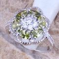 Вежливое Зеленый Перидот Белый CZ посеребренные штамп 925 Для женщин ювелирные изделия кольцо Размеры 6/7/8/9 R0405 - фото
