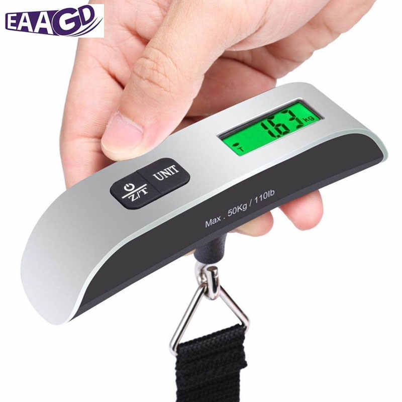 b27dbf15295f Backlight LCD Display Luggage Scale 110lb/50kg Electronic Balance Digital  Postal Luggage Hanging Scale with Rubber Paint Handle