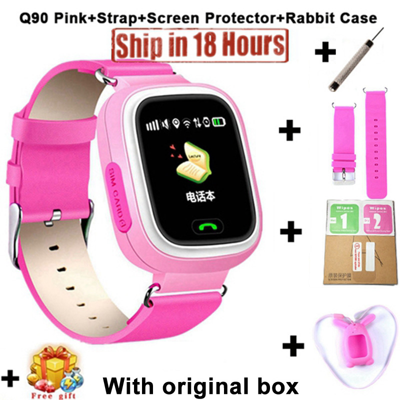 New Arrival Q90 GPS Phone Positioning Fashion Children Watch 1.22 Inch Color Touch Screen kids SOS Smart Watch PK Q80 Q50 Q12