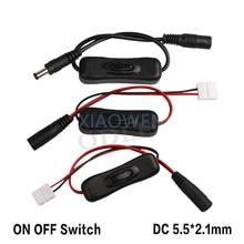 Новый дизайн Водонепроницаемый dc2.1×5.5mm в линии Мощность кабельный разъем для Jack Провода с на выключатель для 5050 Светодиодные ленты свет