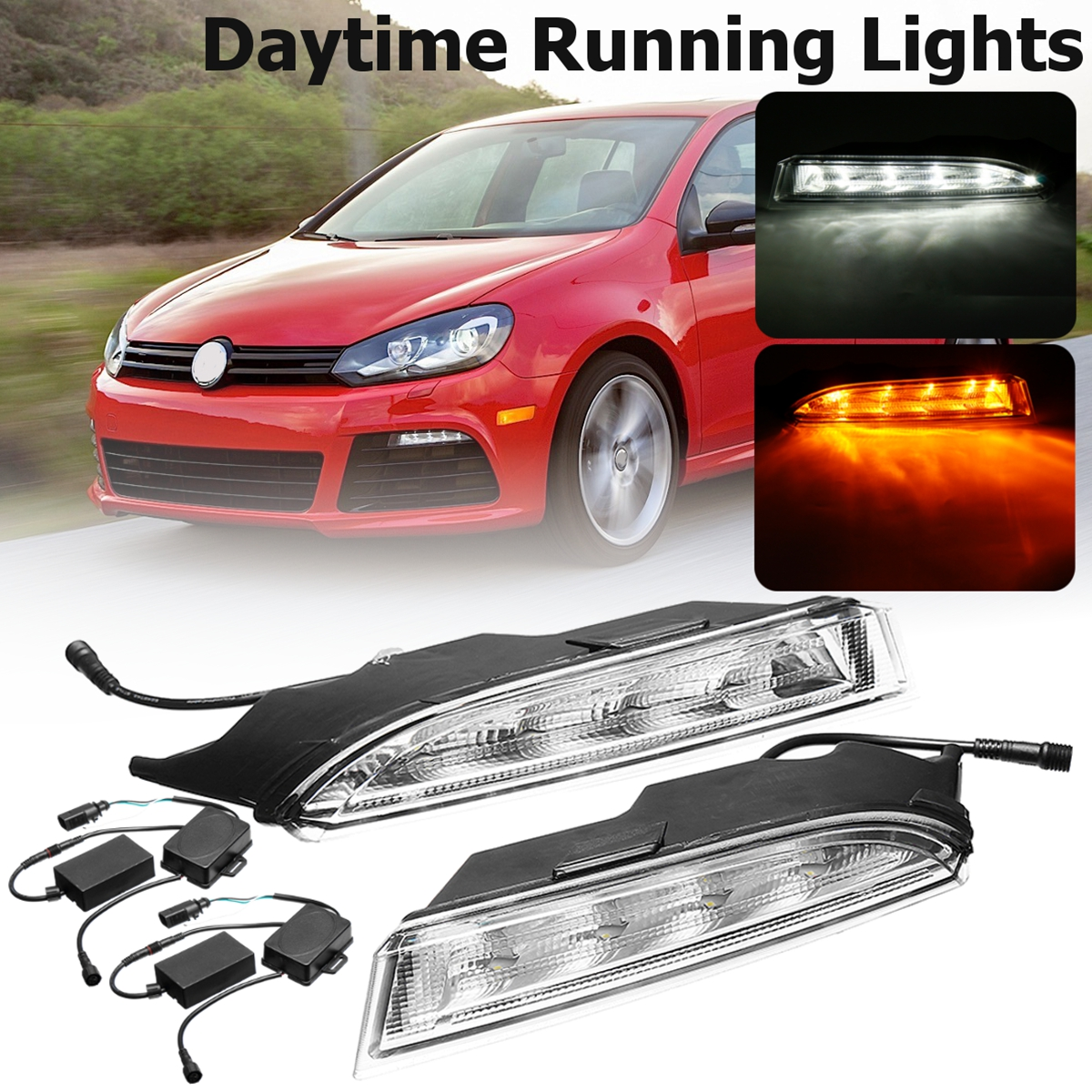 For VW Golf 6 MK6 R20 2009 2010 2011~2013 1 Pair Led Car-Styling Day Daytime Running Light Fog Light Lamp bumper lamp LED DRL 1 set daytime running light drl led fog lamp fit for2010 2011 2012 bmw e90 lci 3 series 328 335 car styling led day light