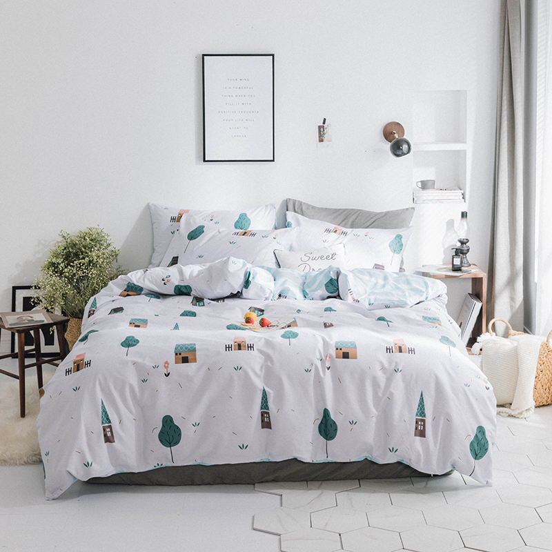 100%Cotton Soft fabric Cute Bedding set for kids children adults Twin Queen King size Bed set Duvet cover Bed sheet set 40