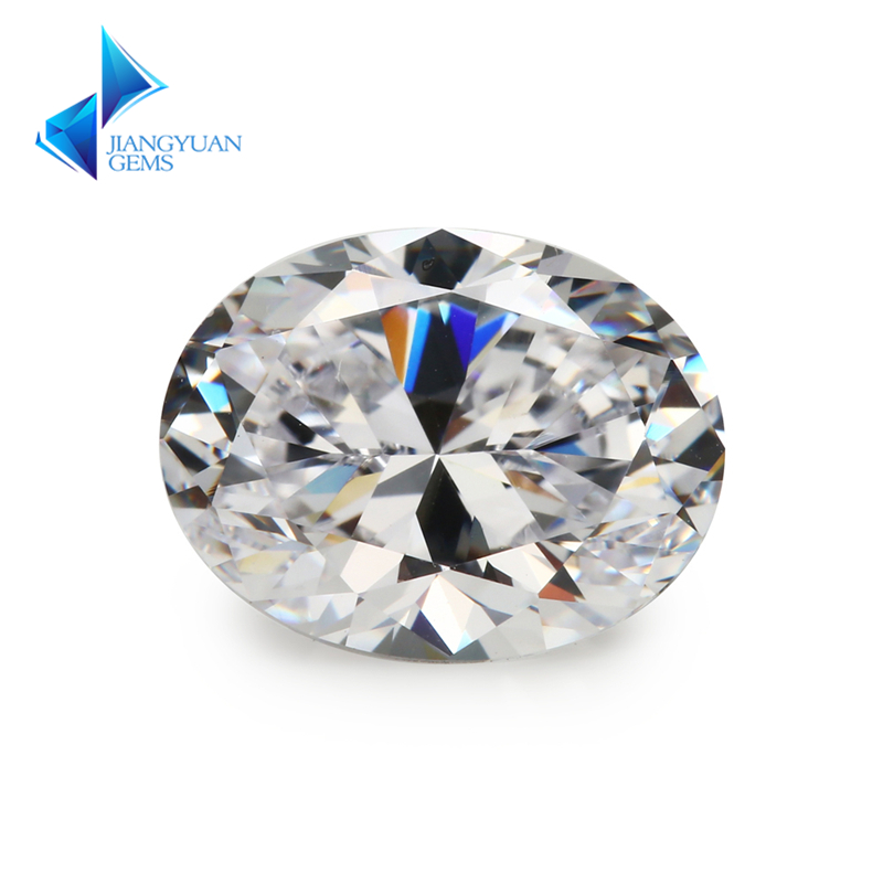 Size 2x3~13x18mm Oval Shape  5A White CZ Stone Synthetic Gems Cubic Zirconia For Jewelry