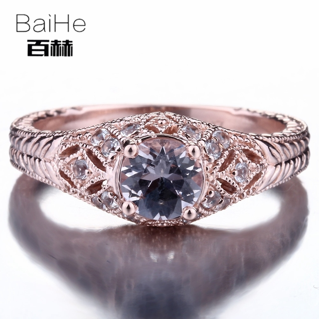 BAIHE Solid 14K Rose Gold(AU585) 0.7CT Certified H/SI Round 100% Genuine Morganite Engagement Women Trendy Ring