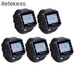5pcs Retekess T128 433.92MHz Watch Receiver Vibrating for Wireless Waiter Calling System Call Pager Restaurant Equipment