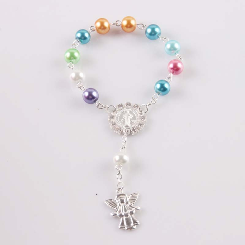 """1 piece 7 colors to choose from 6/"""" Acrylic Pocket Rosary Bracelet Baptism"""