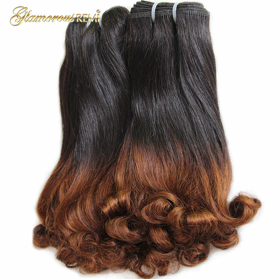 Ombre Human Hair Double Drawn Brazilian 3 Bundles Bouncy Curly Hair Fumi Funmi Spring Curl Remy Hair Weave Extensions 2 Tone
