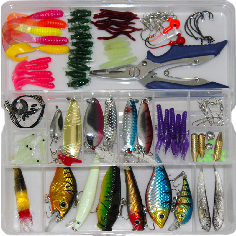 2017 New 73/100/132pcs Fishing Lure Kit Mixed Minnow/Popper Spinner Spoon Lures With Hook Isca Artificial Bait Fish Set Pesca 3pcs lot fishing lures mixed set minnow crankbaits topwater popper hook lure spinner baits crankbait bass wobbler tackle hook
